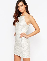 Lashes Of London Sophia Glitter Lace Mini Dress Cream