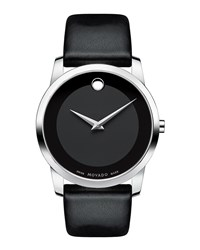 40Mm Museum Classic Watch With Leather Strap Black Movado Silver