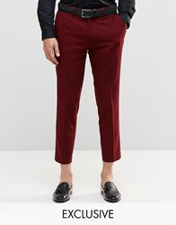 Only And Sons Skinny Cropped Trousers With Stretch Burgundy Red