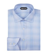 Tom Ford Houndstooth Cotton Shirt Male Blue
