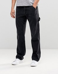Asos Straight Jeans With Carpenter Styling Washed Black