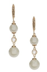 Judith Jack Gold Plated Sterling Silver Swarovski Marcasite And Glass Pearl Drop Earrings Metallic