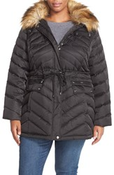 Plus Size Women's Laundry By Shelli Segal Drawstring Waist Down And Feather Fill Utility Parka With Faux Fur Trim