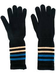 Sonia Rykiel Striped Detail Gloves Blue
