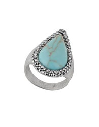 Lucky Brand Pave Peacock Semi Precious Reconstituted Calcite Silvertone Ring Turquoise
