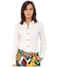 Love Moschino Long Sleeve Button Up W Heart Button Detail White Women's Long Sleeve Button Up