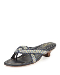 Eric Javits Newtwist Knotted Slide Sandal Surf Navy Blue Navy