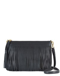 Jaeger Leather Fringed Cross Body Bag