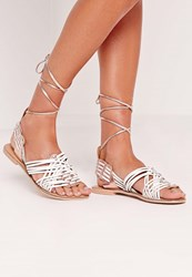 Missguided Real Leather Woven Slingback Flat Sandals White Rose Gold White