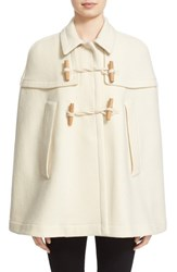 Women's Burberry Brit 'Capsmoore' Wool And Cashmere Cape Natural White