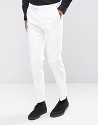 Noose And Monkey Super Skinny Tuxedo Trousers White