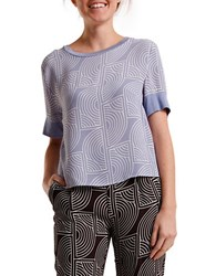 2Nd Day Rhyss Abstract Print Jersey Top Shirt Blue