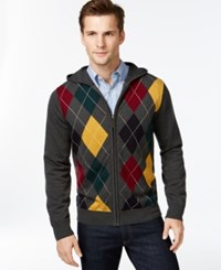 Argyle Culture Full Zip Argyle Hoodie Sweater Charcoal