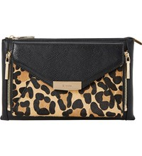 Dune Engellie Removable Leopard Print Pouch Clutch Bag Leopard Leather