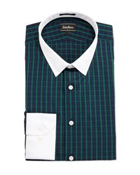 Neiman Marcus Classic Fit Plaid Dress Shirt Green
