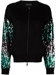 Emporio Armani Contrast Sleeve Zip Up Cardigan Black