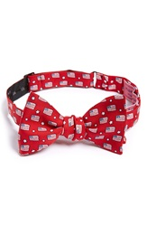 Vineyard Vines Flag Print Silk Bow Tie Red