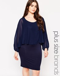 Junarose Shift Dress With Cape Overlay Navy