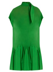 Delpozo Tie Neck Drop Waist Silk Dress Green
