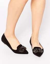 Head Over Heels By Dune Loulu Black Embellished Pointed Flat Shoes