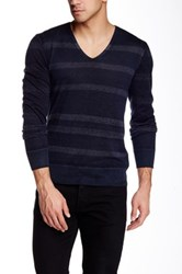 John Varvatos V Neck Long Sleeve Stripe Sweater Multi