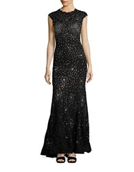 Betsy And Adam Rhinestone Lace Mermaid Gown Black Silver