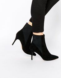 Warehouse Suede Pointed Boot Black