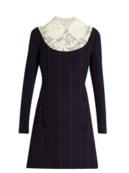 Miu Miu Lace Collar Finestrato Checked Wool Dress Blue Multi