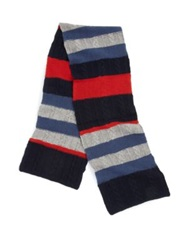 Portolano Striped Wool Scarf Red Blue
