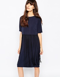 Paisie Fringe Overlay Dress Navy