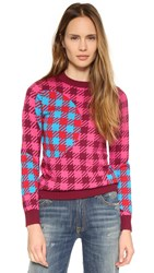 House Of Holland Check Sweater Red Multi