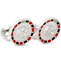 Deakin And Francis Roulette Wheel Enamelled Sterling Silver Cufflinks Silver