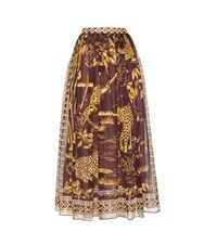 Valentino Printed Cotton Maxi Skirt Brown