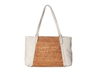 Jack Rogers Alaina East West Tote Cork White Tote Handbags Silver