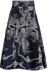Michael Van Der Ham Kate Metallic Jacquard Skirt Blue