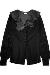 Saint Laurent Ruffled Collar Velvet Blouse Black