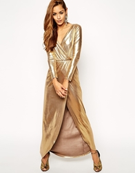 Asos Sexy Gold Wrap Maxi Dress