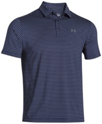 Under Armour Men's Playoff Performance Striped Golf Polo Academy Blue Graphite