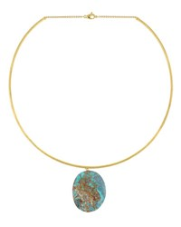 Marco Bicego Materica 18K Gold Chrysocolla Pendant Collar Necklace