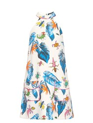 House Of Holland Insect Print Halterneck Dress White Multi
