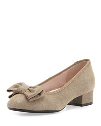 Taryn Rose Fridigit Stingray Embossed Suede Low Heel Pump Camel