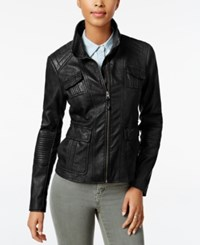 Lucky Brand Faux Leather Bomber Jacket Black