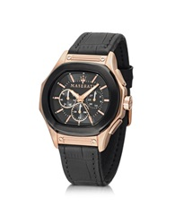 Maserati Fuoriclasse Multi Function Dial And Black Eco Leather Strap Men's Watch Golden Brown