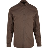 River Island Mens Brown Zig Zag Textured Slim Fit Shirt