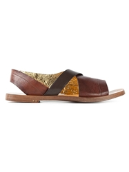 Silvano Sassetti Crisscross Strap Sandals Brown