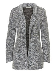 Betty And Co. Chunky Knit Cardigan Dark Blue White