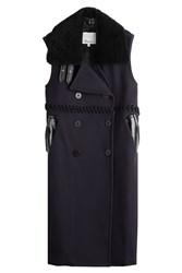 3.1 Phillip Lim Sleeveless Wool Coat With Shearling Collar Blue