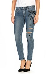 Paige Women's Sequin Star Patch High Rise Straight Leg Jeans