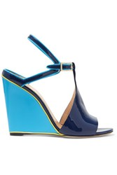 Emilio Pucci Two Tone Patent Leather Wedge Sandals Navy