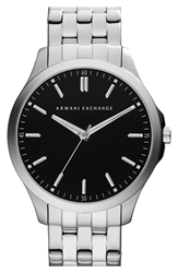 Armani Exchange Round Bracelet Watch 45Mm Silver Black